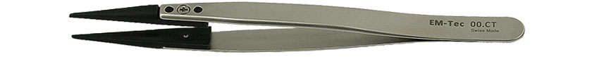 EM-Tec 00.CT ESD safe carbon fiber replaceable tip tweezers, blunt tips